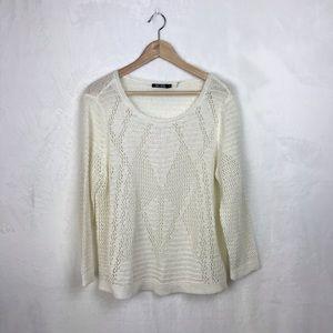 Nic + Zoe Crocheted Scoop Neck Light Sweater XL